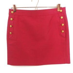 Jcrew Gold Nautical Buttons Coral Mini Skirt Sz 6